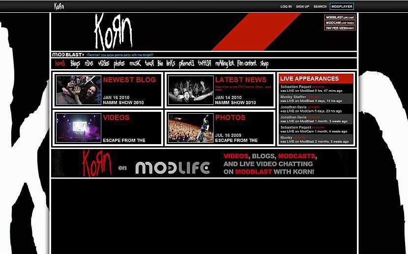 KORN httpmodlifecomkorn Autors: Liver Mūziķu / muzikālo apvienību mājas lapas