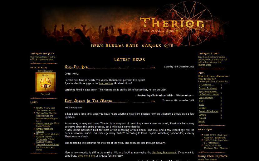 THERION httpwwwmegatherioncom Autors: Liver Mūziķu / muzikālo apvienību mājas lapas