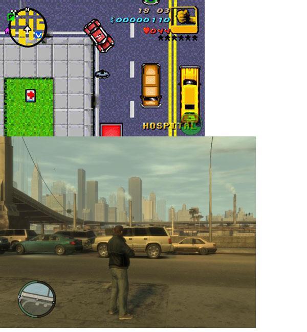 1 GTA 1  GTA IV 19992008 Autors: evanti Spēles pirms un pēc vairākiem gadiem.