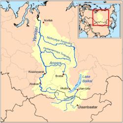 Jeņisejas karte Autors: Fosilija 5 garākās pasaules upes