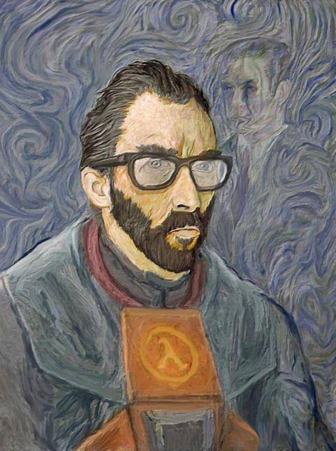 Gordon Freeman no  Half Life Autors: 1930 Video spēļu varoņi klasiskajā gleznojuma stilā.