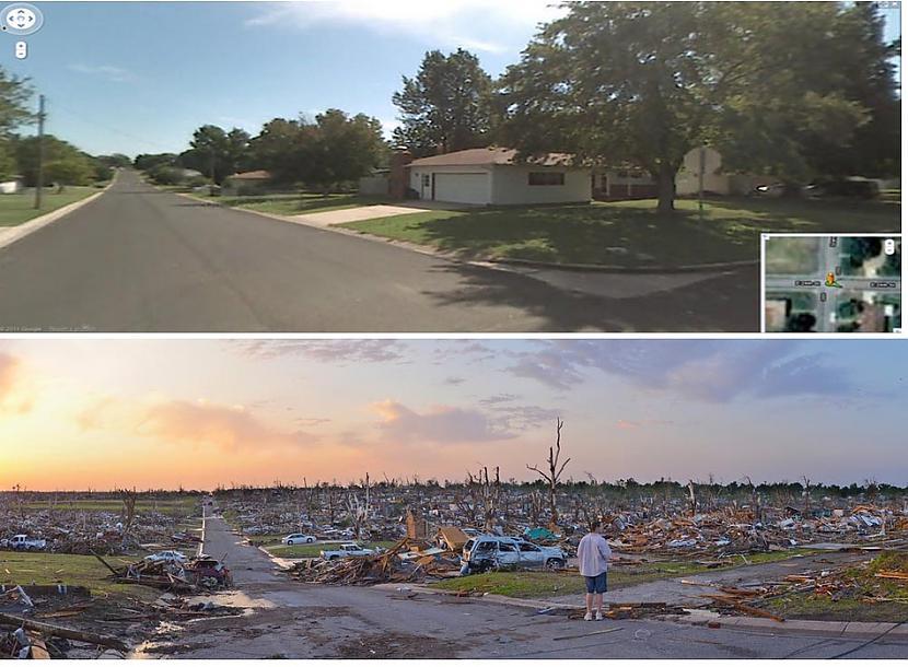 Pirms un pēc spēcīgā tornado... Autors: cuchins Aizvadītā 2011 spēcīgākās bildes!