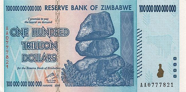 100 triljoni Zimbaves dolāri Autors: Fallenbeast Vislielākās banknotes pasaules vēsturē