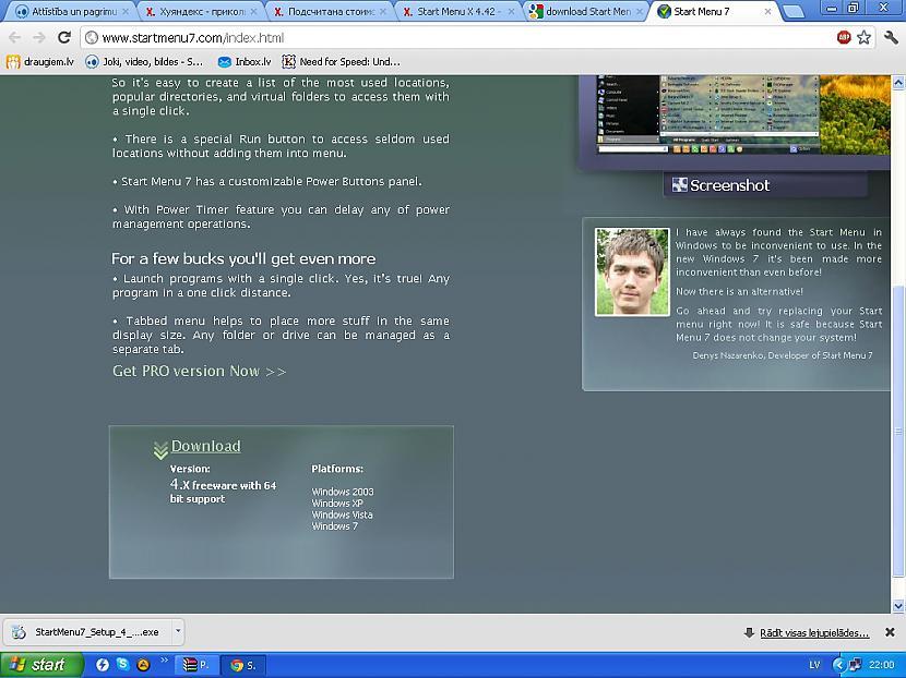 httpwwwstartmenu7comindexhtmlL... Autors: Fosilija Start menu-x jauns softs priekš xp