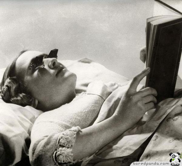 Brilles lasīscaronanai gultā... Autors: Fosilija 20.gs. trīsdesmito gadu izgudrojumi