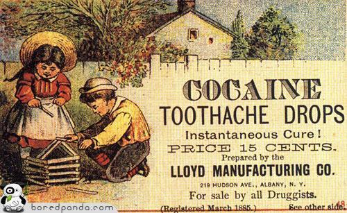 Kokaīna zobu pilieni Autors: Fosilija Reklāmas, kas mūsdienās būtu aizliegtas
