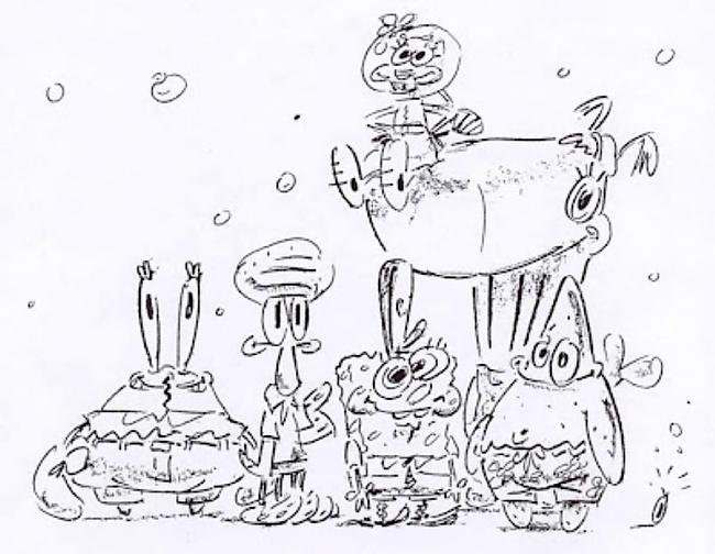 Sponge Bob Square Pants 1999... Autors: zhagata13 Multeņu varoņi mākslinieku skicēs