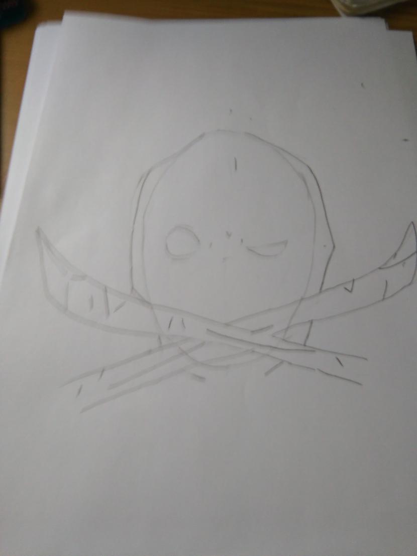 """Zīmējam otru zobenuPadaram... Autors: Fosilija """"Deadpool""""soli pa solim."""