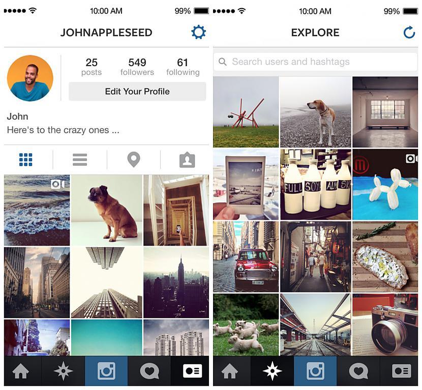 """Šis ir piemērs pašai lietotnei... Autors: Pirmspēdējais cents KARSTI! Lietotne """"Instagram"""" izveidojis jaunu dizainu"""