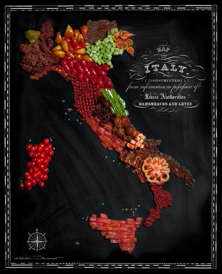 Itālija  Tomāti Autors: Sarius Viņi pārvērta ikoniskus ēdienus valstu un kontinentu kartēs.