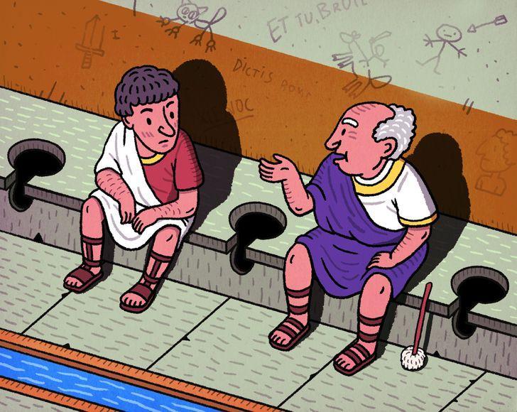 """Nekāda privātumaAtrodoties... Autors: Lestets 10 fakti par senajām """"atpūtas telpām"""" jeb tualetēm un vannasistabām"""