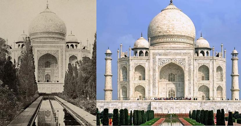 Tadžmahals Indija 1870tie gadi... Autors: Lestets Toreiz un tagad: Kā laika gaitā ir mainījušās šīs vietas?