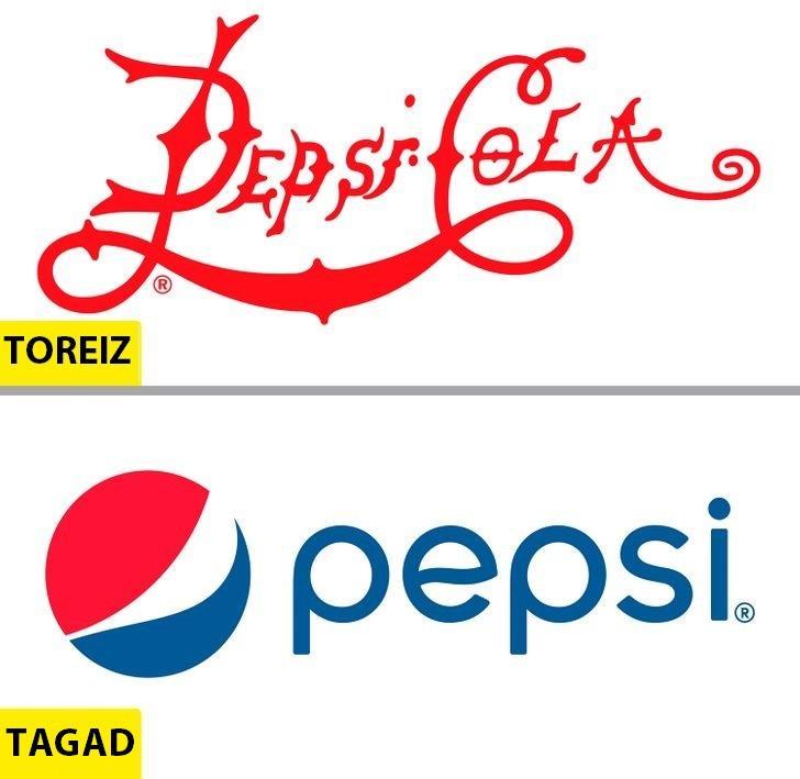 PepsiDzēriens kādreiz saucās... Autors: Lestets Kā pēdējo 50 gadu laikā ir mainījušies slavenu brendu logo?